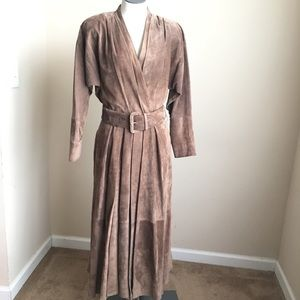 Vintage Lloyd Williams Suede Leather Belted Dress